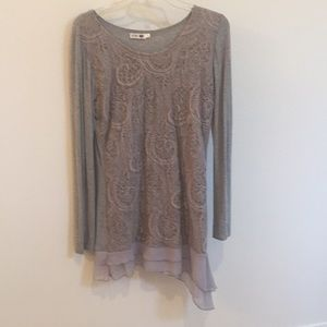 Boutique Long Gray-Toned Top